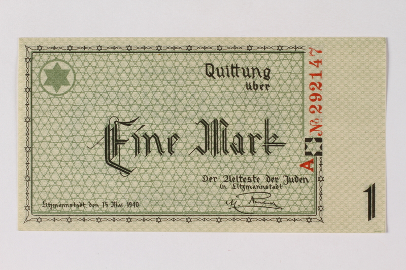 1989.185.2 front Łódź (Litzmannstadt) ghetto scrip, 1 mark note, owned by a Polish Jewish survivor