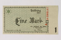 1989.185.2 front Łódź (Litzmannstadt) ghetto scrip, 1 mark note, owned by a Polish Jewish survivor  Click to enlarge