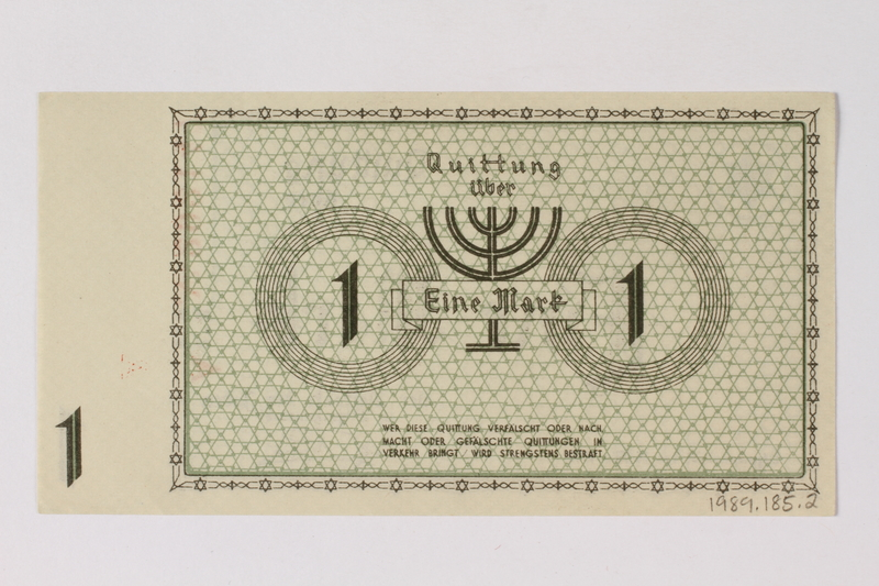 1989.185.2 back Łódź (Litzmannstadt) ghetto scrip, 1 mark note, owned by a Polish Jewish survivor