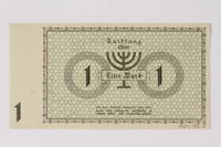 1989.185.2 back Łódź (Litzmannstadt) ghetto scrip, 1 mark note, owned by a Polish Jewish survivor  Click to enlarge