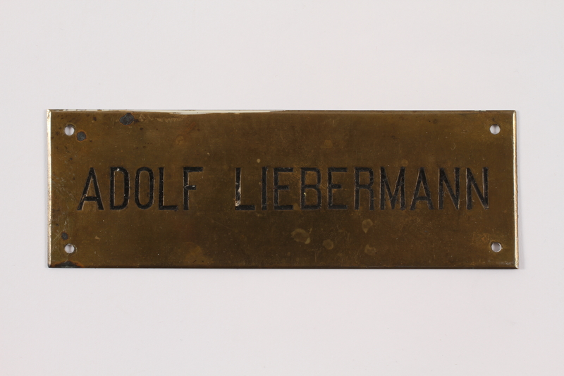 2014.353.2 front Nameplate used for a business in prewar Vienna