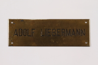 2014.353.2 front Nameplate used for a business in prewar Vienna  Click to enlarge