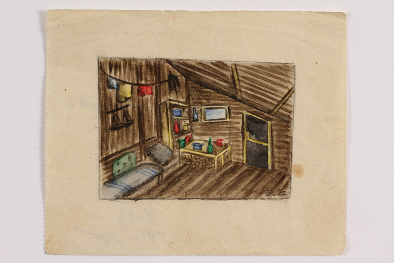 2014.357.2 front Watercolor of the cabin interior where a Jewish family found refuge