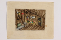 2014.357.2 front Watercolor of the cabin interior where a Jewish family found refuge  Click to enlarge