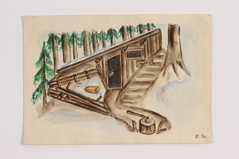 2014.357.3 front Watercolor of the mountain cabin refuge of a Jewish family