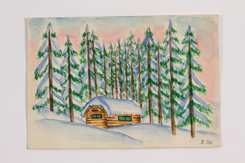 2014.357.4 front Watercolor of a cabin where a Jewish family paused during flight
