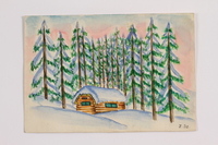 2014.357.4 front Watercolor of a cabin where a Jewish family paused during flight  Click to enlarge