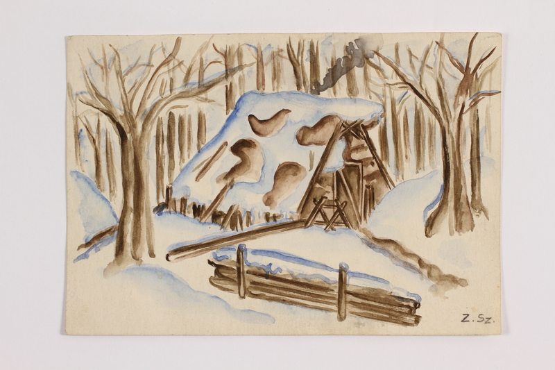 2014.357.5 front Watercolor of a cabin where a Jewish family rested in flight