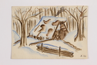 2014.357.5 front Watercolor of a cabin where a Jewish family rested in flight  Click to enlarge