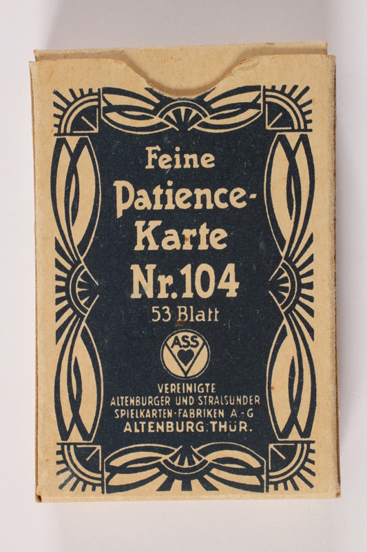 2013.495.6 b front Two decks of Patience cards with 3 boxes brought with a young German Jewish refugee