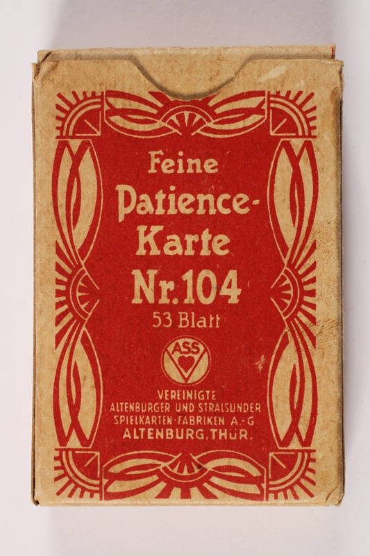 2013.495.6 be front Two decks of Patience cards with 3 boxes brought with a young German Jewish refugee