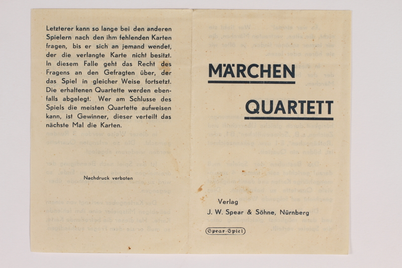 2013.495.7 aq front Marchen Quartett deck of fairy tale cards with box brought with a German Jewish refugee