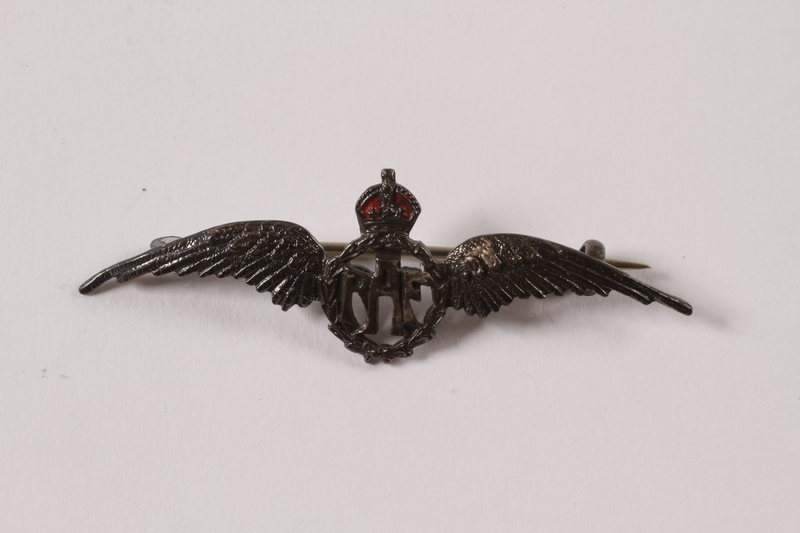 2013.476.6 front Royal Air Force sweetheart's wings pin acquired by a Czech Jewish Kindertransport refugee