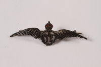2013.476.6 front Royal Air Force sweetheart's wings pin acquired by a Czech Jewish Kindertransport refugee  Click to enlarge