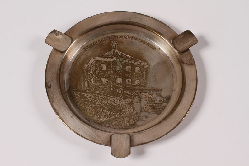 2013.496.2 top Silver plated ashtray with an engraving of Skansen Kronan acquired by a former concentration camp inmate