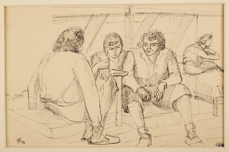 1988.1.25 front Portrait of three female inmates (Version I) by a German Jewish internee