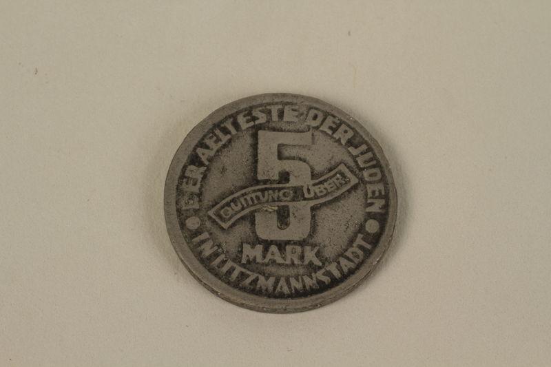 1995.128.171 front Łódź (Litzmannstadt) ghetto scrip, 5 mark coin