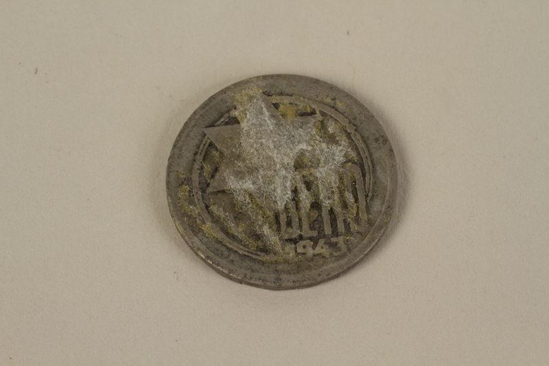 1995.128.171 back Łódź (Litzmannstadt) ghetto scrip, 5 mark coin