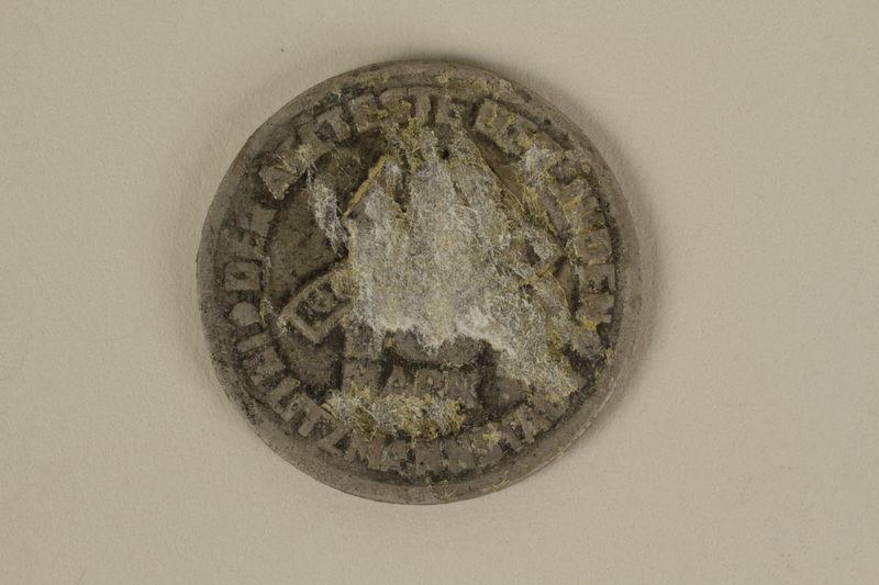1995.128.172 back Łódź (Litzmannstadt) ghetto scrip, 10 mark coin