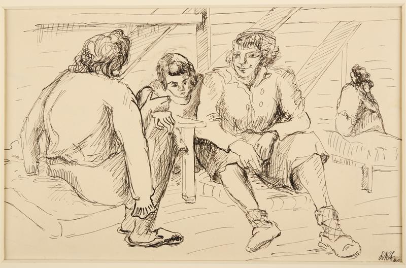 1988.1.26 front Portrait of three female inmates (Version II) by a German Jewish internee