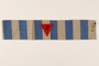 Blue and white striped armband with a red triangle with a P