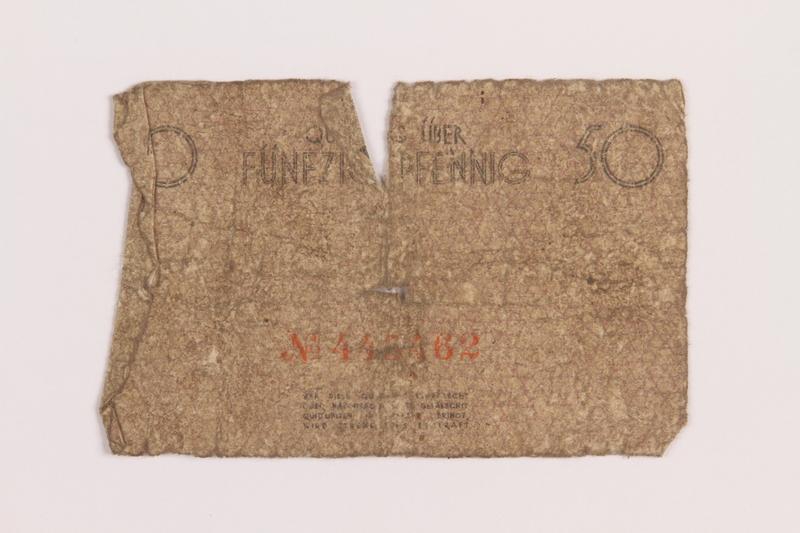 1989.207.1 back Łódź ghetto scrip, 50 pfennig note, acquired by a Polish Jewish survivor