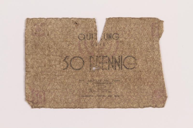 1989.207.1 front Łódź ghetto scrip, 50 pfennig note, acquired by a Polish Jewish survivor