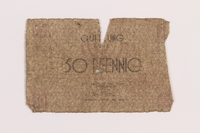 1989.207.1 front Łódź ghetto scrip, 50 pfennig note, acquired by a Polish Jewish survivor  Click to enlarge