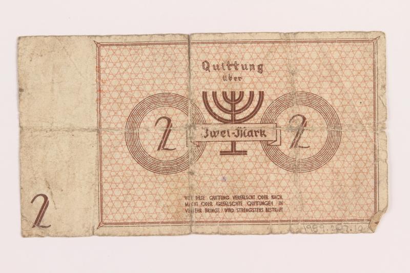 1989.207.10 back Łódź ghetto scrip, 2 mark note, acquired by a Polish Jewish survivor