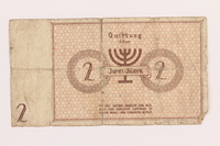 1989.207.10 back Łódź ghetto scrip, 2 mark note, acquired by a Polish Jewish survivor  Click to enlarge