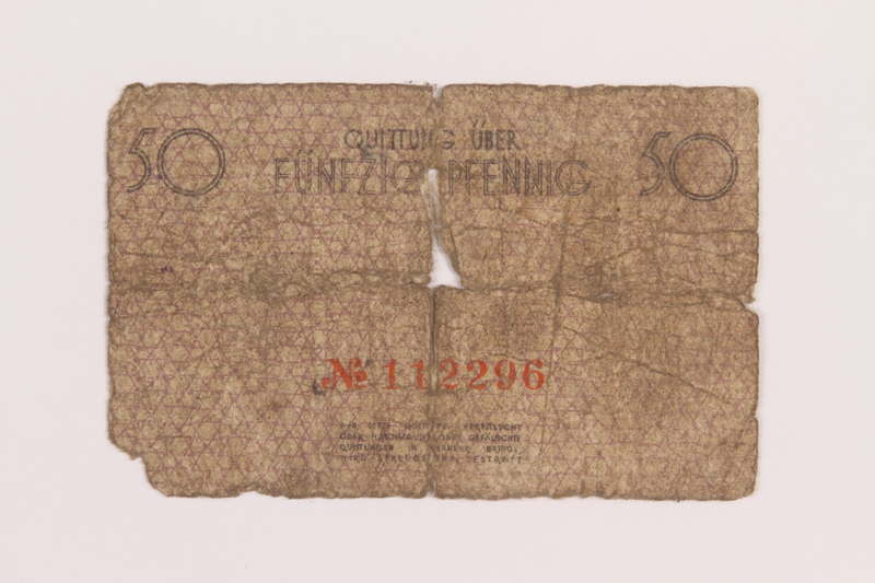 1989.207.2 back Łódź ghetto scrip, 50 pfennig note, acquired by a Polish Jewish survivor
