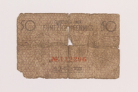 1989.207.2 back Łódź ghetto scrip, 50 pfennig note, acquired by a Polish Jewish survivor  Click to enlarge