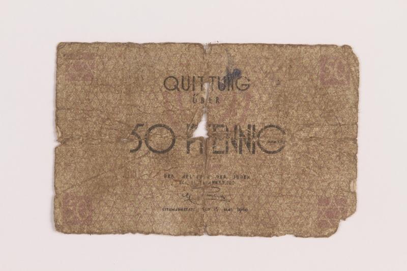1989.207.2 front Łódź ghetto scrip, 50 pfennig note, acquired by a Polish Jewish survivor