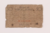 1989.207.3 back Łódź ghetto scrip, 50 pfennig note, acquired by a Polish Jewish survivor  Click to enlarge
