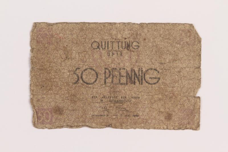 1989.207.3 front Łódź ghetto scrip, 50 pfennig note, acquired by a Polish Jewish survivor