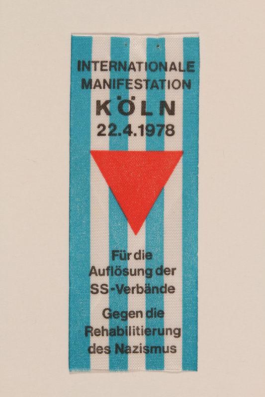 1995.128.255 front Commemorative ribbon for Cologne