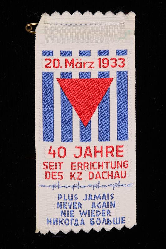 1995.128.259 front Commemorative ribbon for Dachau