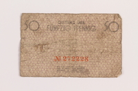 1989.207.4 back Łódź ghetto scrip, 50 pfennig note, acquired by a Polish Jewish survivor  Click to enlarge