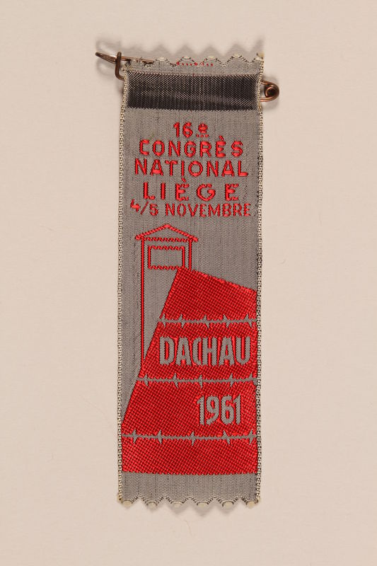 1995.128.261 front Commemorative ribbon for Dachau concentration camp from the 16th National Congress in Liege