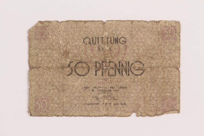 1989.207.5 front Łódź ghetto scrip, 50 pfennig note, acquired by a Polish Jewish survivor
