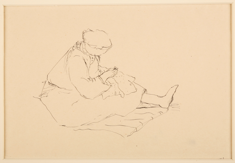 1988.1.27 front Drawing of a female prisoner sewing by a German Jewish internee