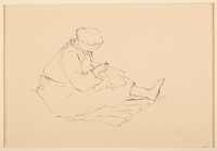 1988.1.27 front Drawing of a female prisoner sewing by a German Jewish internee  Click to enlarge