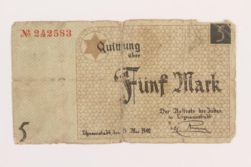 1989.207.6 front Łódź ghetto scrip, 5 mark note, acquired by a Polish Jewish survivor
