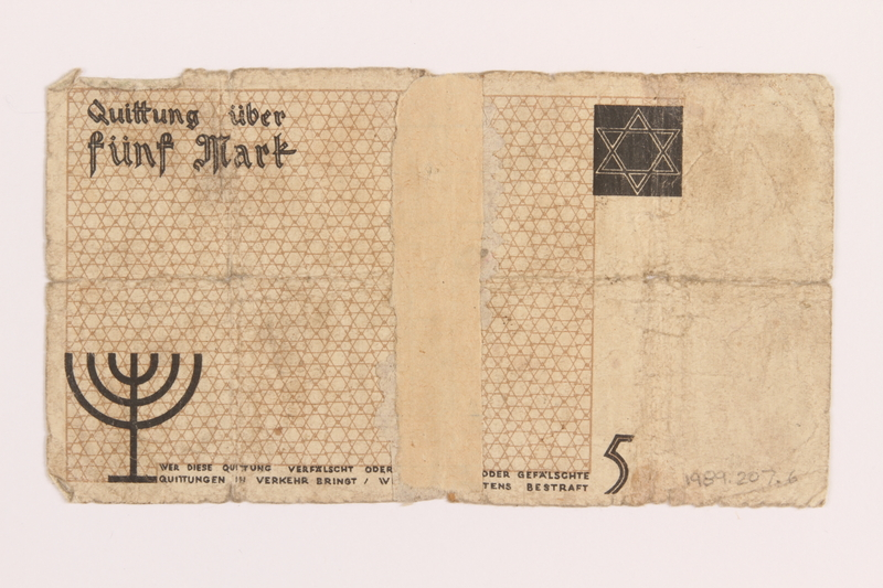1989.207.6 back Łódź ghetto scrip, 5 mark note, acquired by a Polish Jewish survivor