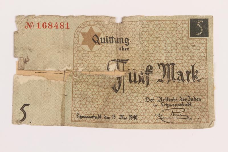 1989.207.7 front Łódź ghetto scrip, 5 mark note, acquired by a Polish Jewish survivor