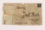 Łódź ghetto scrip, 5 mark note, acquired by a Polish Jewish survivor