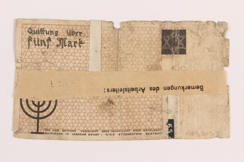 1989.207.7 back Łódź ghetto scrip, 5 mark note, acquired by a Polish Jewish survivor