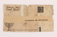 1989.207.7 back Łódź ghetto scrip, 5 mark note, acquired by a Polish Jewish survivor  Click to enlarge