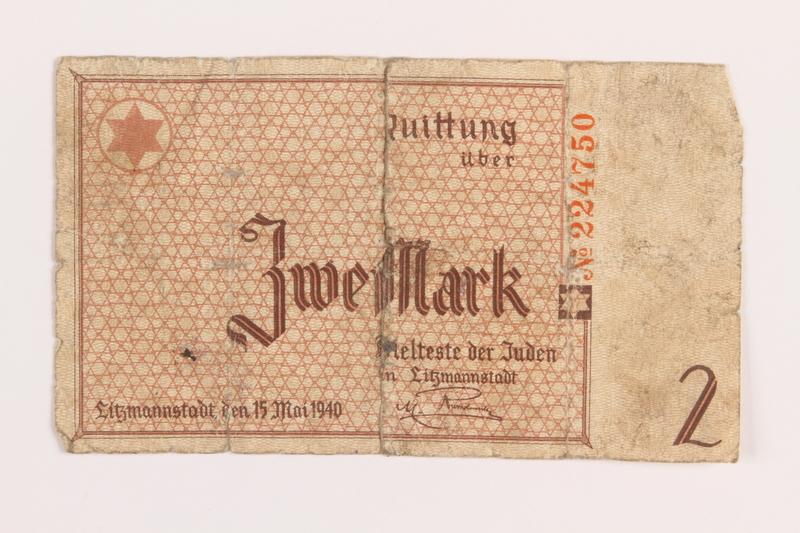 1989.207.8 front Łódź ghetto scrip, 2 mark note, acquired by a Polish Jewish survivor
