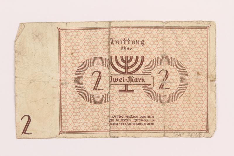 1989.207.8 back Łódź ghetto scrip, 2 mark note, acquired by a Polish Jewish survivor